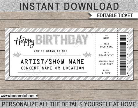 concert ticket template free printable concert ticket template printable birthday gift voucher
