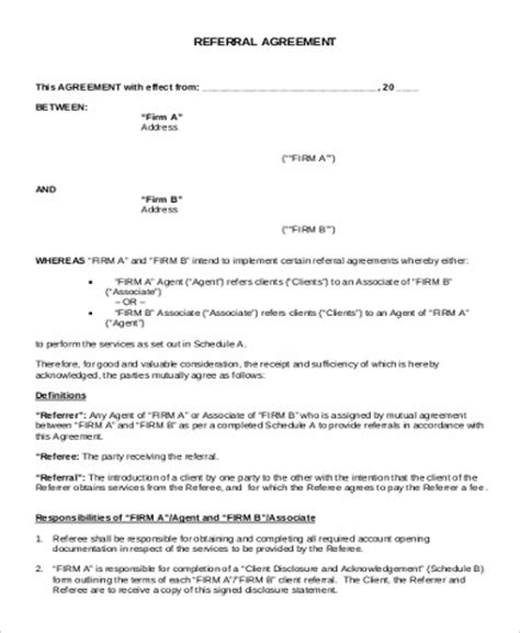sample referral agreements