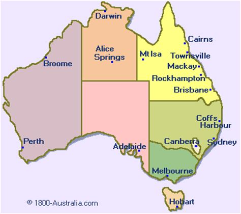 Carte Australie Ville by Cities In Australia Map