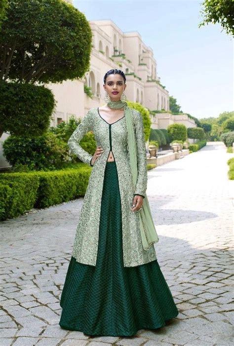 Bottle green designer party wear dress with dupatta ...