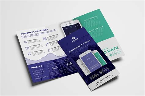 Templates For Tri Fold Brochures by Mobile App Tri Fold Brochure Template Psd Ai Vector