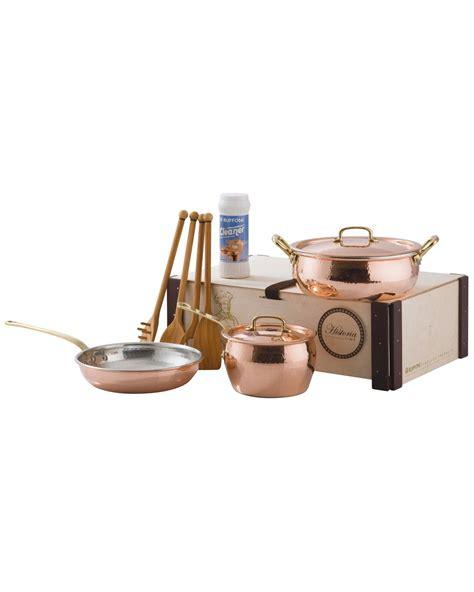 spotted  ruffoni copper historia pc cookware set  rue la la shop quickly copper