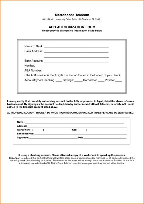 ach authorization form template ach form template templates station