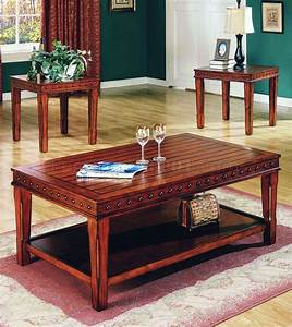 Pine solid wood stylish 3pc coffee table set w nail head for Real wood coffee table sets