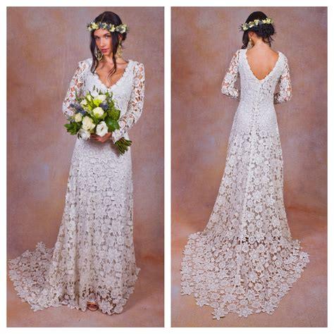 Rustic Boho Wedding Dress Simple Crochet Lace Bohemian