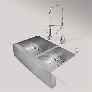 Vigo all in one farmhouse apron front stainless steel 36 for Apron front sink with faucet holes