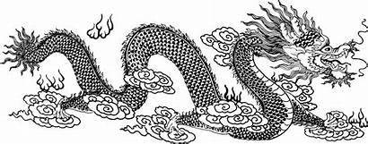 Dragon Line Asian Clipart Drawing Coloring Chino