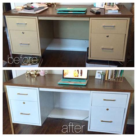 DIY Metal Desk Makeover   White+Gold   Metal desk makeover, Desk makeover, Desk makeover diy
