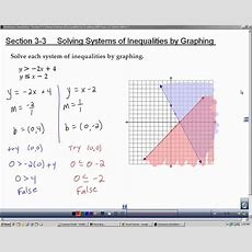 Algebra 2 Section 3 3 Solving Systems Of Inequalities By Graphing Youtube