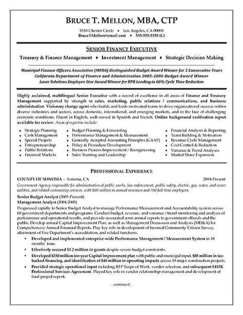 resume sle for finance manager financial manager resume exle