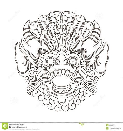 mythological gods head indonesian traditional art stock