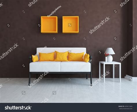 canapé interiors brown room canape living room interior stock illustration