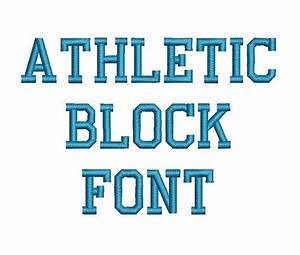 athletic block machine embroidery font monogram alphabet 3 With block monogram font
