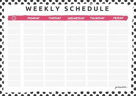 weekly schedule planner task list templates