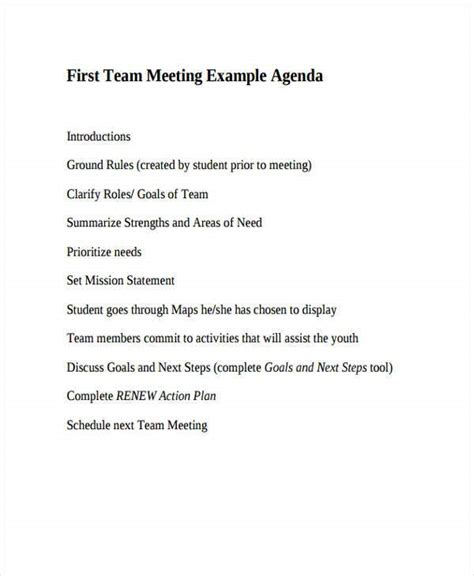 team agenda templates   word  format