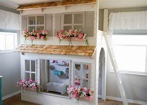 Custom Dollhouse Cottage Loft Bed, Pick Your Colors, Play
