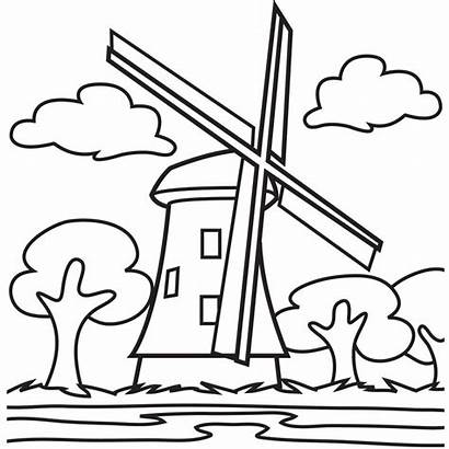 Windmill Coloring Pages Wind Mill Clip Blowing