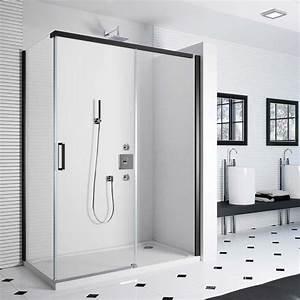 cabine de douche colors black matt 120 a 140 cm With porte de douche coulissante avec salle de bain en marbre noir