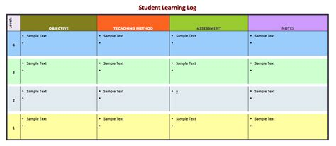 student learning log template word templates