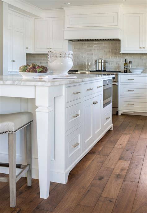 wood flooring island gray ceramic tiles transitional kitchen benjamin moore simply white liz schupanitz designs