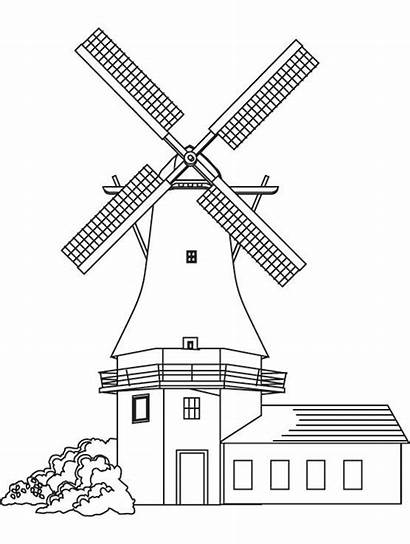 Windmill Coloring Pages Windmills Adult Colouring Holland