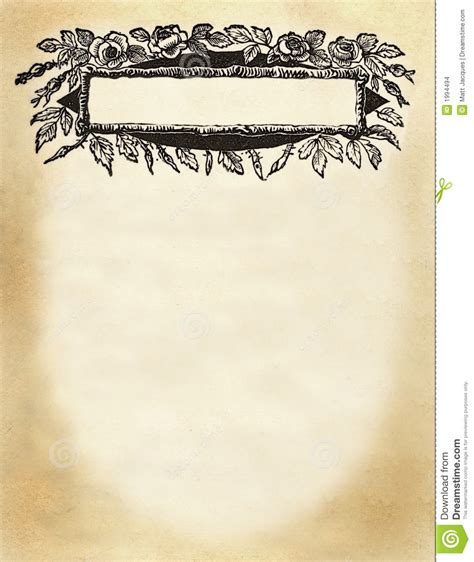 Floral Title Box On Blank Page Stock Photo
