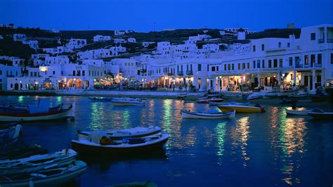 Water night lights boats villages cities man-made ...