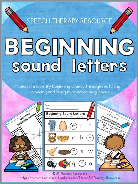 beginning sounds color  match  activities