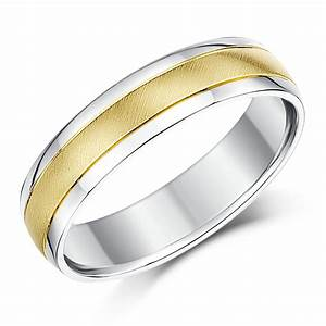5mm 9ct yellow gold silver two colour wedding ring band With silver or gold wedding ring