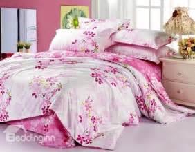 best selling lovely pink flower print 4 piece bedding sets beddinginn com