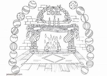 Fireplace Dibujos Chimeneas Colorear Coloring Navidad Template