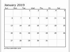 2019 Calendar Template Lorgprintmakerscom