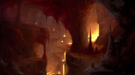 cave caves fantasy city cities wallpaper