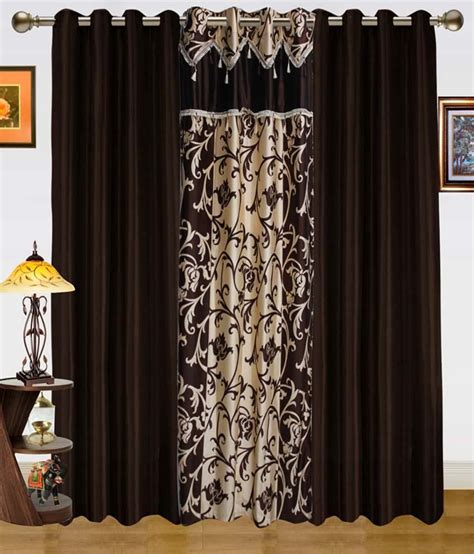 dekor world curtains dekor world set of 3 door eyelet curtains floral brown and