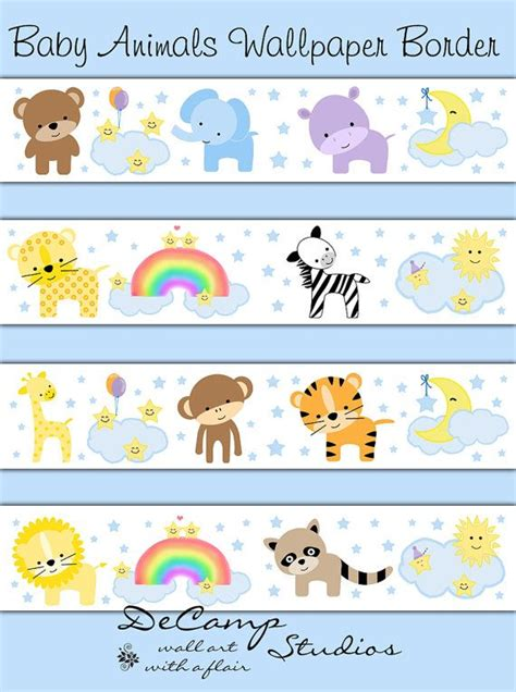 Baby Jungle Animals Wallpaper Border - animal nursery border decal wall cloud moon