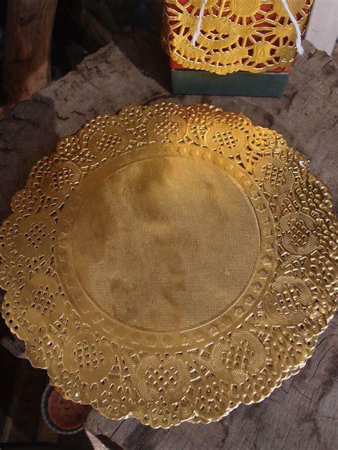 gold foil doilies placemats metallic  pack