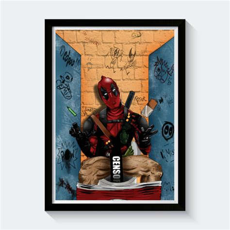 for the home deadpool on the toilet poster shut up