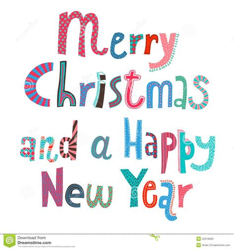 merry and a happy new year lettering stock photo image 22316560
