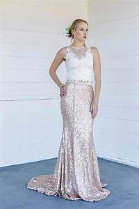 2016 sparkling rose gold bling sequined wedding dresses With rose gold lace wedding dress