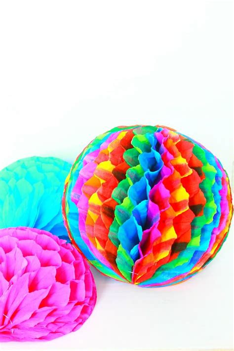 Honeycomb Pom Poms Party Decorations Made With Crepe Paper