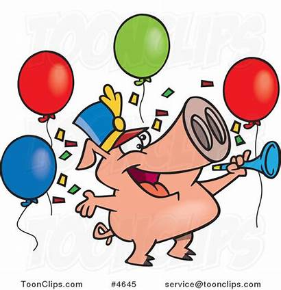 Celebrating Pig Cartoon Leishman Birthday Ron Cartoons