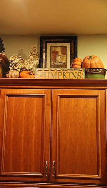 Cabinet Decoration Ideas - way to decorate above kitchen cabinets for fall like