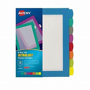 avery ultralast big tab plastic dividers 8 tabs 1 set With avery 8 tab labels