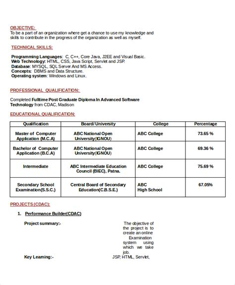 Objective In Resume For Software Testing Fresher by Resume Career Objective 7 Documents In Pdf Word