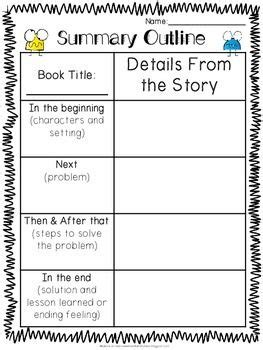 summary sheet and retell organizer freebie school stuff