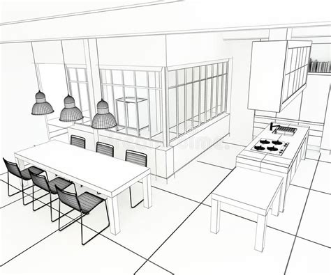 cuisine d architecte cuisine impressionnante de plan d 39 architecte illustration