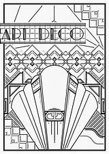 Coloring Deco Pages Adults Poster Adult 1920s Patterns Sheets Nouveau Geometric Printable Colouring Getcolorings Everfreecoloring sketch template