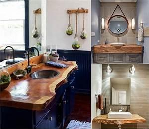 Plan Vasque Bois Brut : plan de travail salle de bain en bois pour tous les styles 20 inspirations ~ Teatrodelosmanantiales.com Idées de Décoration