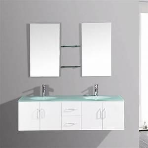 Meuble Salle De Bain 2 Vasques : gaia blanc meubles de salle de bain salle de bain ~ Edinachiropracticcenter.com Idées de Décoration