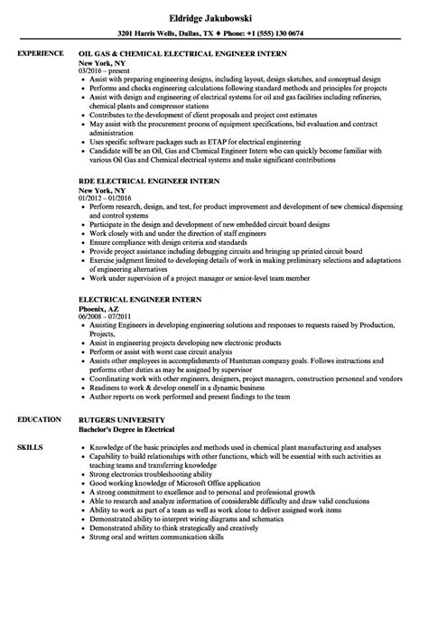 electrical engineer intern resume sles velvet